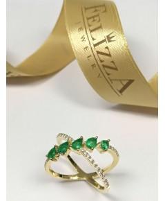 แหวนมรกต ประดับเพชรแท้เบลเยี่ยมคัท RI00537-279