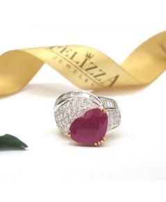 แหวนทับทิมพม่า ประดับเพชรแท้เบลเยี่ยมคัท RI00088-14 (DSHZO)