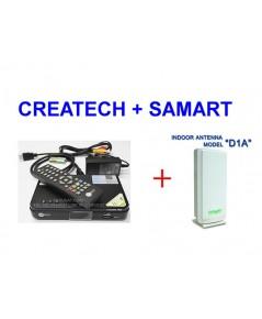 ชุดรับสัญญาณดิจิตอลทีวี CREATECH CT-1+SAMART D1A (สัญญาณแรงที่สุด)