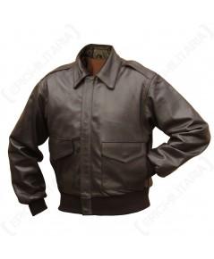 ชุดนักบินทหารอเมริกา สงครามโลกครั้งที่ 2 Brown Leather US Pilots A2 Jacket - Repro