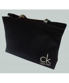 กระเป๋าผ้าแคนวาส ลาย CK - สายหนังเเท้