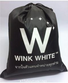 ถุงหูรูด ผ้าร่มกันน้ำ โลโก้ wink white