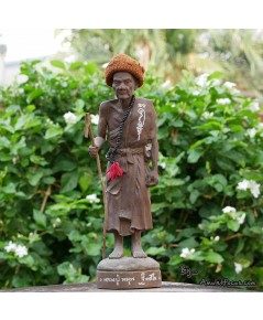 พระบูชายืน 12 นิ้ว เนื้อผงเหล็กน้ำพี้ ลป.หมุน รุ่น ไตรมาสรวยทันใจ ออกวัดป่าฯ ปี 43 No.8 พร้อมบัตรฯ
