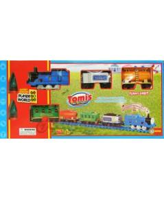 Tomis TheBigFamily 2277-13 (JNB)  รถไฟขบวนน่ารัก มีไฟมีเสียง มีควัน พร้อมโบกี้พ่วง 3 โบกี้