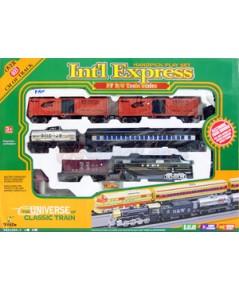 รถไฟวิ่งราง Int\' Express (MFAN)  รถไฟวิ่งรางขบวนยาว 5 โบกี้ มีไฟมีเสียง พร้อมฉากประกอบ