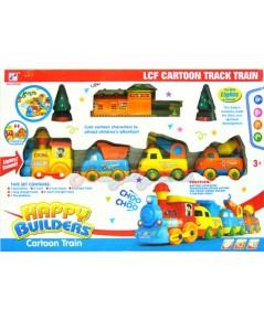 Happy Builders Cartoon Train (ZUPN) รถไฟวิ่งรางสีสันสดใส มีไฟมีเสียง