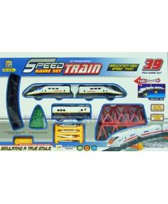 Speed Train (MFIN) รถไฟฟ้า 3 ตอน มีไฟ มีเสียง ใช้ถ่าน AA 2 ก้อน มี 39 ชิ้น