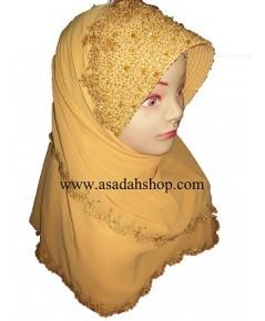 ฮิญาบผ้าชีฟองสีเหลืองทองมีหน้า ติดลูกปัดและคริสตัลแบบละเอียด (พร้อมส่ง)