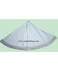 ตะละกงผ้าโทเรสปัน สีขาว ติดริมลูกไม้โปร่ง (พร้อมส่ง)
