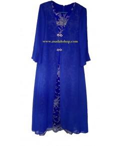 ชุดผ้าชีฟองและผ้าลูกไม้สีน้ำเงิน ติดซิปหลัง ไซส์ใหญ่ (พร้อมส่ง)
