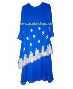 ชุดยาวผ้าชีฟองสีน้ำเงิน ตกแต่งด้วยผ้าลูกไม้สีครีม (พร้อมส่ง)