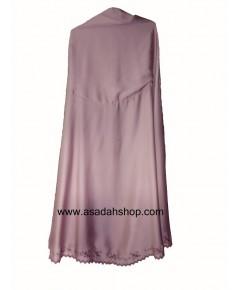 ตะละกงผ้าซาตินสีชมพูกะปิ ริมปักลายสีม่วง (พร้อมส่ง)