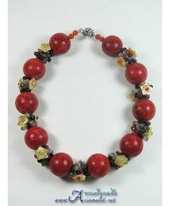 สร้อยชุดปะการังแดง ร้อยดอกไม้ RED CORAL FLOWER