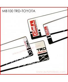 กรอบป้ายทะเบียนรถยนต์ กันน้ำ MB100 TRD สั้น-ยาว ไม่มีเส้นกลาง  รุ่น SP5 คลิปล็อค 8 จุด มีน็อตอะไหล่