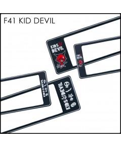 กรอบป้ายทะเบียน กันน้ำ F41 KID DEVIL คิดเดวิล สั้นยาว (F1) คลิปล็อค 8 จุด มีน็อตอะไหล่ในกล่อง