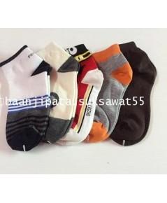 ถุงเท้าผู้ใหญ่ ข้อสั้น คละสี คละแบบ