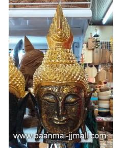 เศียรพระพุทธทองมหามงคล ทำจากไม้ปิดแผ่นทองคำ