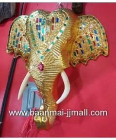 หัวช้างทองประดับกระจกสี ติดฝาพนัง