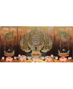 เฟลมภาพชุดพญานาคราชคู่ใต้ต้นโพธิ์ทองพัดโบกซ้ายขวาชุด 3 ภาพ