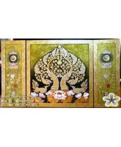 เฟลมภาพชุดพญานาคราชคู่ใต้ต้นโพธิ์ทองดอกบัวซ้ายขวาชุด 3 ภาพ