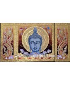 เฟลมภาพชุดหน้าพระพุทธรูปพญานาคราชซ้ายขวาชุด 3 ภาพ