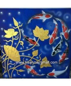 เฟลมภาพวาดสีอะคลีลิคปลาคร๊าฟ 8 ตัวและดอกบัวทอง