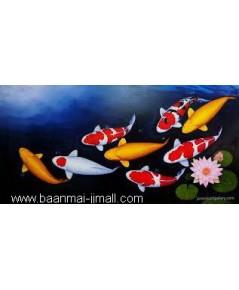 เฟลมภาพวาดสีอะคลีลิคปลาคร๊าฟ 8 ตัวและดอกบัว