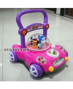รถผลักเดินปรับหนืดได้ สีชมพู