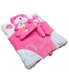 ชุดที่นอนเด็กกำมะหยี่หมี สีชมพู