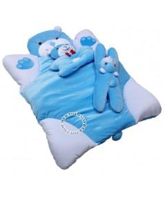 ชุดที่นอนเด็กกำมะหยี่หมี สีฟ้า