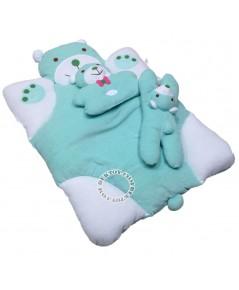 ชุดที่นอนเด็กขนหนูหมีหวานสีเขียว