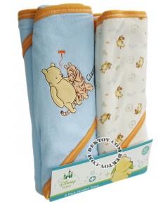 ชุดผ้าห่อตัวเด็กพูห์ สีฟ้า 30 x 30 นิ้ว แพ็ค 2 ผืน