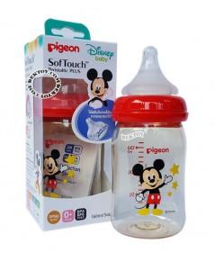 ขวดนมPigeon Mickey Mouseคอกว้างสีชา5ออนซ์PPSUเดี่ยว
