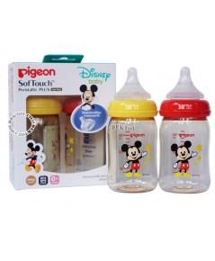 ขวดนมPigeon Mickey Mouseคอกว้างสีชา5ออนซ์PPSUคู่2ขวด