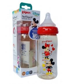 ขวดนมPigeon Mickey Mouseคอกว้างสีชา8ออนซ์PPSUเดี่ยว