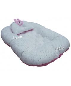 ที่นอนเด็กทารกเบาะไข่รังผึ้งใยสังเคราะห์หนานุ่ม ชมพู