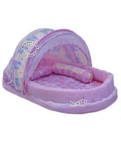 ที่นอนพร้อมมุ้ง ที่นอนเด็กทารก มุ้งครอบ สีชมพู