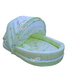 ที่นอนพร้อมมุ้ง ที่นอนเด็กทารก มุ้งครอบ สีเขียว