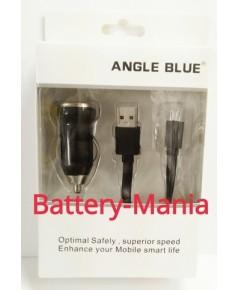 Angle Blue USB CAR Charger - สีดำ ที่ชาร์จในรถ พร้อมสาย Micro USB