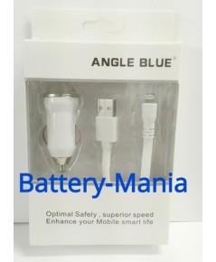 Angle Blue USB CAR Charger - สีขาว ที่ชาร์จในรถ พร้อมสาย Lightning USB