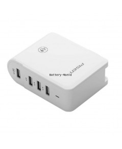 PISEN หัวชาร์จบ้าน 4 ช่อง 4 USB Charger Socket รุ่น TS-C054 (White)
