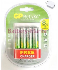 ถ่านชาร์จ GP recyko AA 2000 mAh แพ็ค 4 ก้อน แถมฟรีเครื่องชาร์จ USB U411 และวอลชาร์จUSB