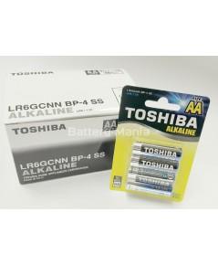 ถ่านอัลคาไลน์ AA แพ็ค 4 ก้อน Toshiba Alkaline Blueline LR6BP4 1 กล่อง