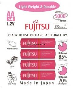 ถ่านชาร์จ Fujitsu HR-3UTLA ขนาด AA 1.2V ความจุ 1000 mAh 4 ก้อน