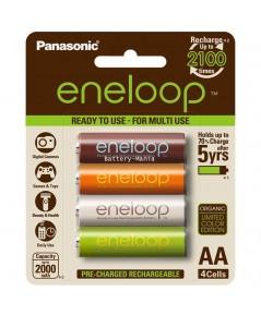 Panasonic Eneloop AA pack 4 ก้อน ชาร์จ 2100 ครั้ง ORGANIC COLOR EDITION รุ่น BK-3MCCE/4RT