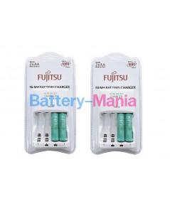 Fujitsu Basic Charger 8HR เครื่องชาร์จ 8 ชม. พร้อมสุดยอดถ่านชาร์จ AA 2 ก้อน 2 ชุด