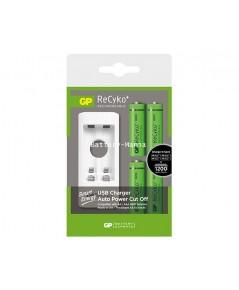 GP recyko AA 1000 mAh 2 ก้อนและ AAA 400 mAh 2ก้อน แถมฟรีเครื่องชาร์จ USB U211และวอลชาร์จ USB