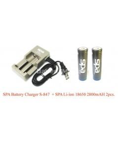ชุดประหยัด Spa 18650 economy set เครื่องชาร์จ Spa S847 และ Spa Batteries 18650 หัวนูน 2 ก้อน