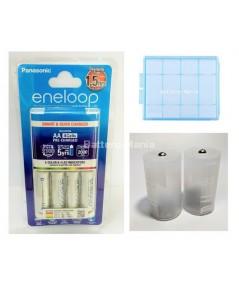 Eneloop ชุดประหยัด With D Adaptor Set 2 เครื่องชาร์จ 2 ชม. (AAx4+Adaptor size D Double Power)