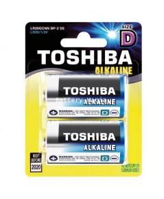 ถ่านอัลคาไลน์ D แพ็ค 2 ก้อน Toshiba Alkaline Blueline LR20BP2